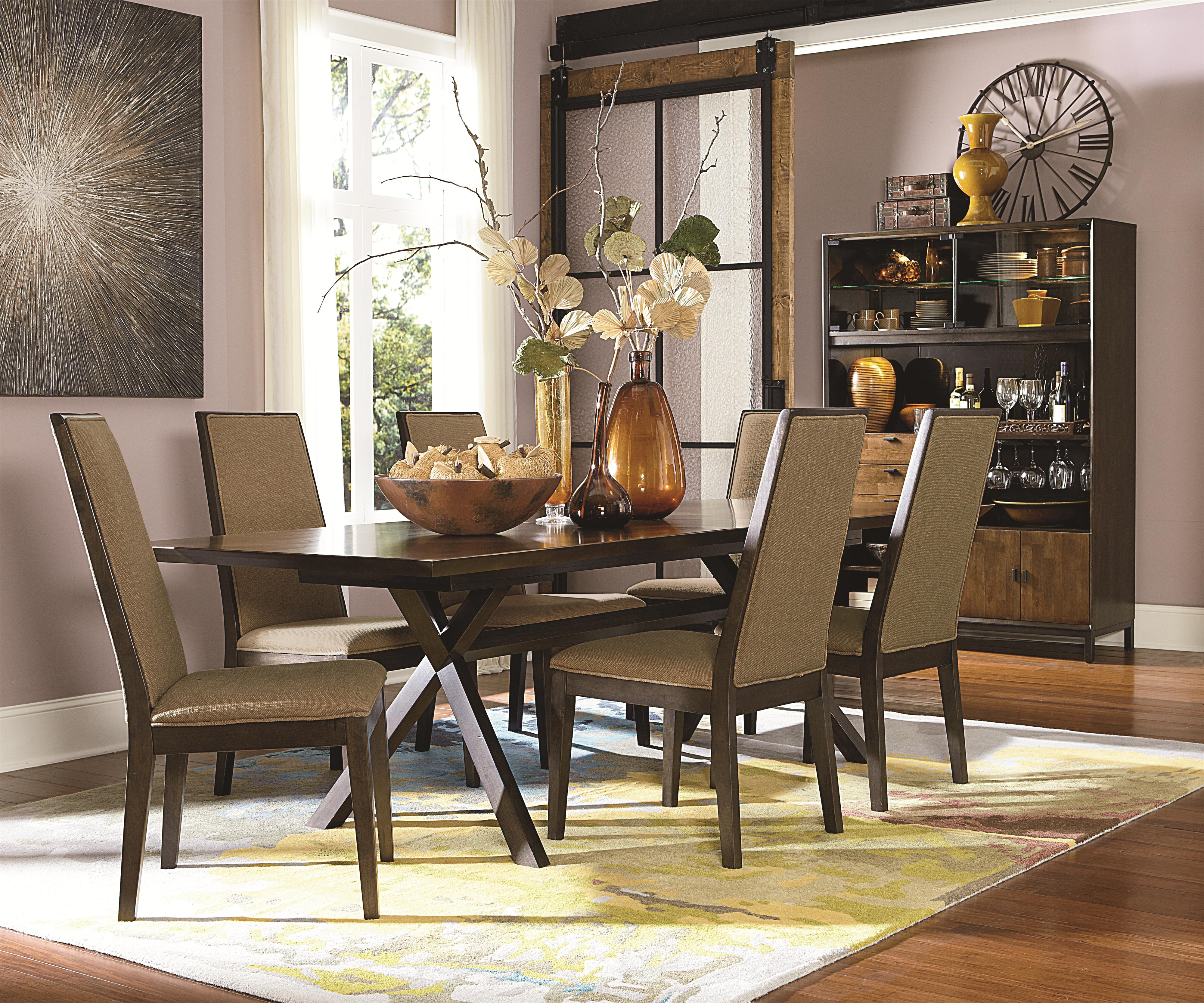 Legacy Classic Kateri Rectangular Table With Trestle Bottom In Hazelnut  Finish With Extension Leaf   Belfort Furniture   Dining Room Table