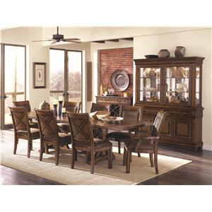 Legacy Classic Larkspur Rectangular Trestle Table with Flatware Storage