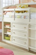 Incredible Storage and Adjustable Shelving Area with the Mid Loft Youth Bed