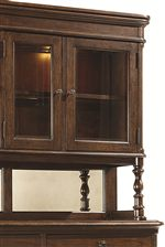 China Cabinet with Glass Doors, Lighting, and Mirrored Back
