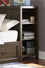 Storage Headboard Offers Extra Shelves and Drawers