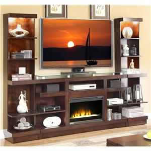 Legends Furniture Novella 9-Shelf TV Stand with Glass Top