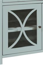Glass Cabinet Doors and Metal Knobs