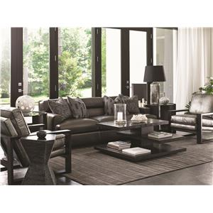 Lexington Carrera Toscana Leather Bustle Back Chair and Ottoman Set