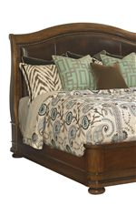 A Leather Upholstered Headboard and Upholstered Side Chairs Add Variety and Rich Detail to The Collection