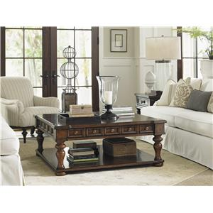Lexington Coventry Hills Shelton Round End Table with Leather and Nailhead Stud Accents