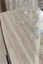 Silver Travertine Tops Are Featured on a Number of Pieces, Creating an Inviting, Casual Feel
