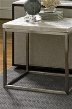 Select Tables Topped with Crystalline Blocks of Translucent Veracruz Stone