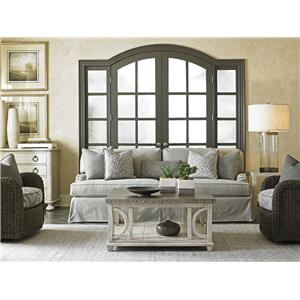 Lexington Oyster Bay Stowe Slipcover Sofa in Gray