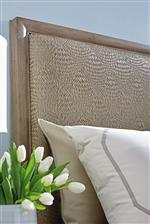 The Bedroom Centerpiece Features a Durable and Beautiful Headboard Upholstered in Basket-Woven Faux Leather