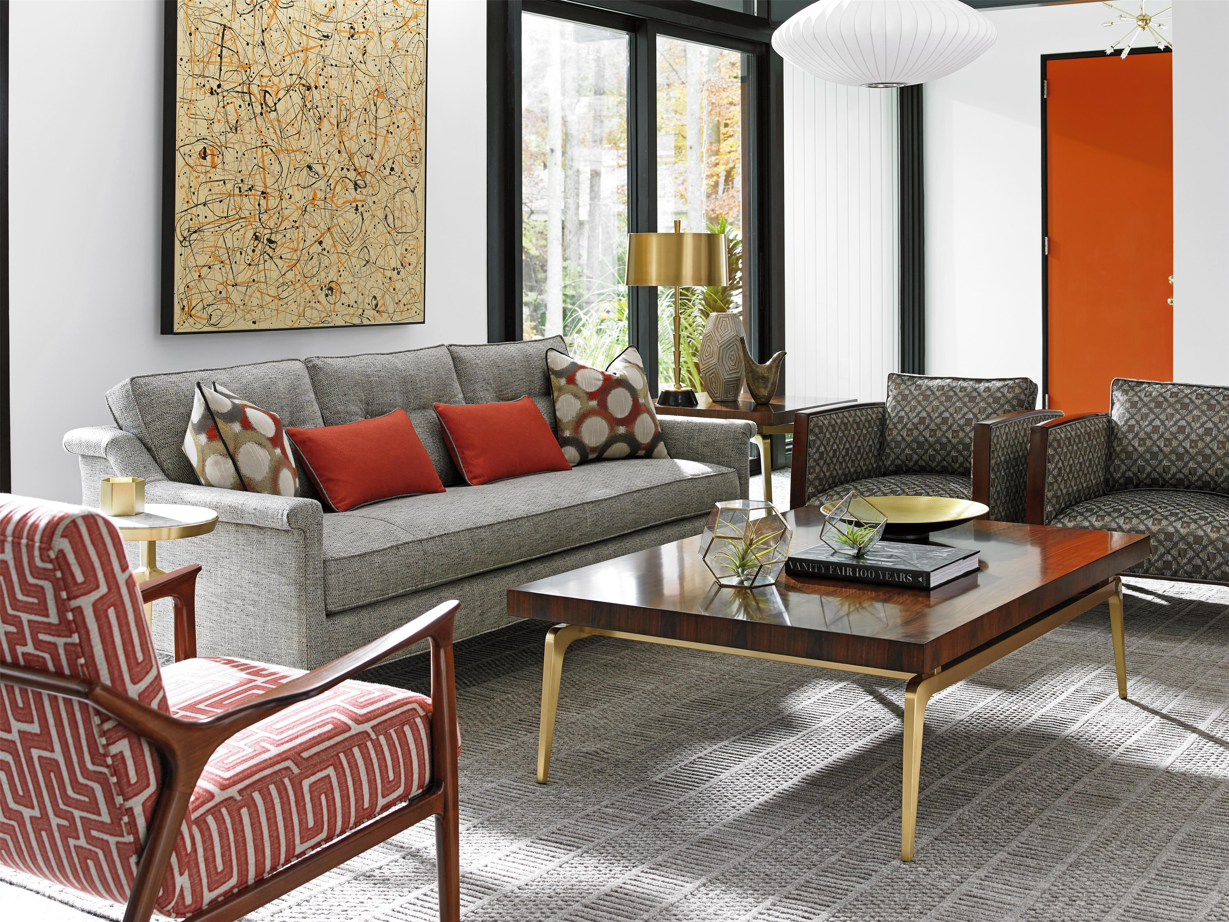 Lexington Take Five Broadway Tail Ottoman With Sliding Wood Tray Lindy S Furniture Company Ottomans