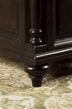 Turned feet and pilasters are features in this collection