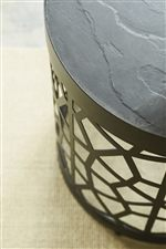 The Precision Cut Pattern Reminiscent of a Spider Web on the Round Metal Base Adds Great Interest to Any Room