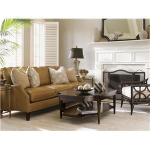 Lexington Kensington Place Transitional Ashton Chair and Ottoman Set with Nailhead Trim