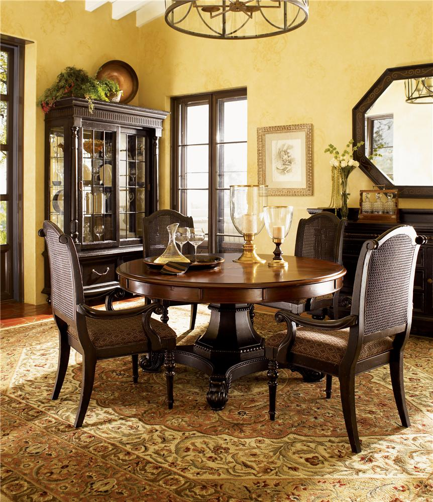 Tommy Bahama Home Kingstown Bonaire Round Dining Table with Cassiss ...