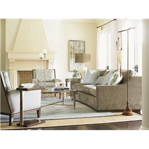 Lexington Tower Place Contemporary Edgemere Chair with Wood Block Legs and Wood Arms