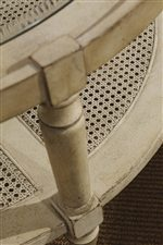 The Cane Inserts of the Holloway Cocktail Table Provide a Contrast in Pattern and Texture