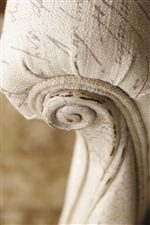 Intricately Carved Wood Beautifully Accents Many Upholstered Pieces in Twilight Bay