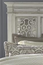 Panel Headboard With Decorative Gird Overlay Over Mirrored Panels
