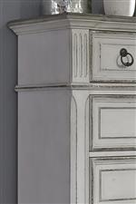 Heavy Crown Molding And Fluted Top Design With Chamfered Edges