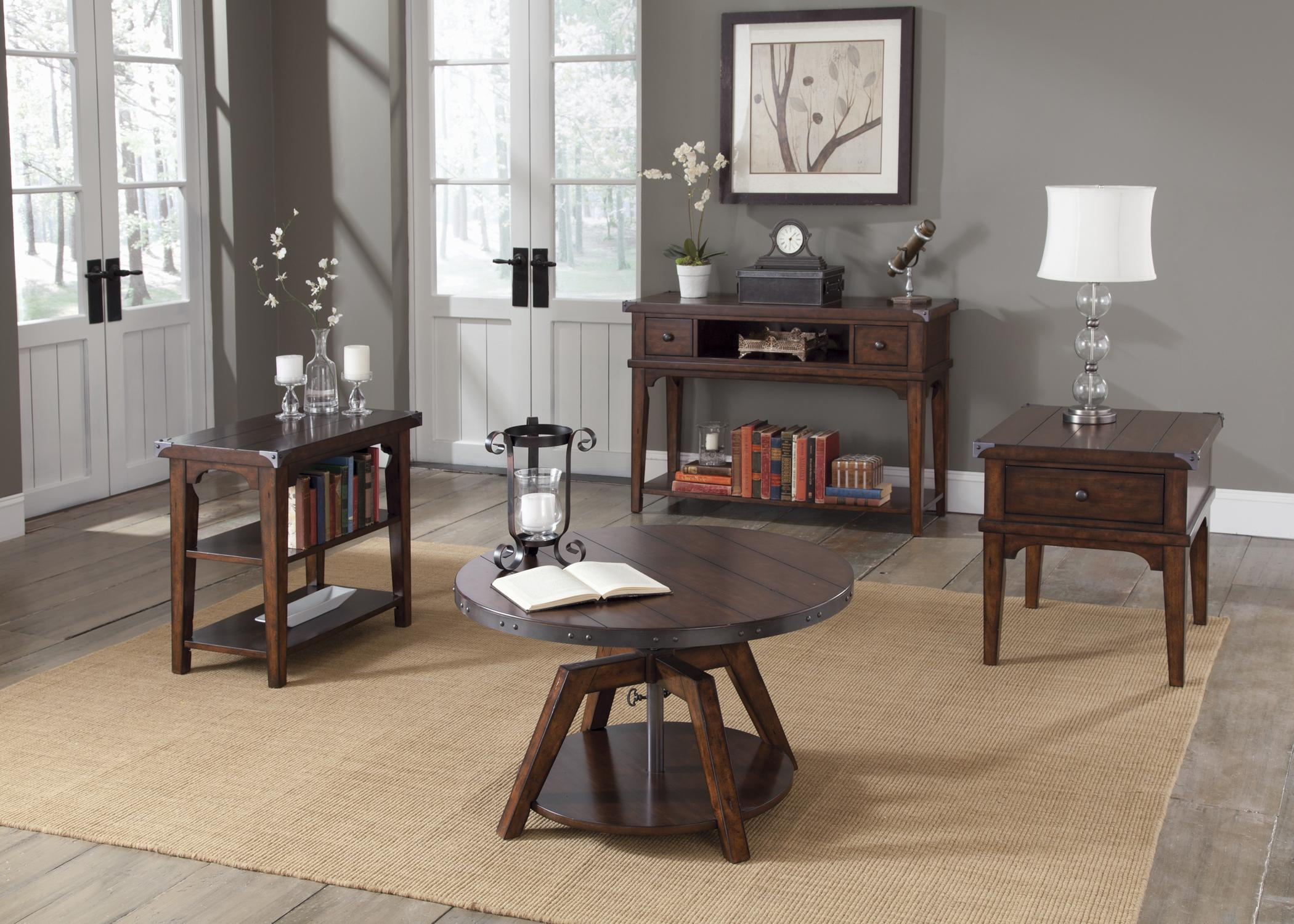 Liberty Furniture Aspen Skies Industrial Casual End Table with e