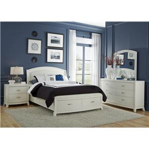 Vendor 5349 Avalon II Queen Platform Leather Bed with Storage