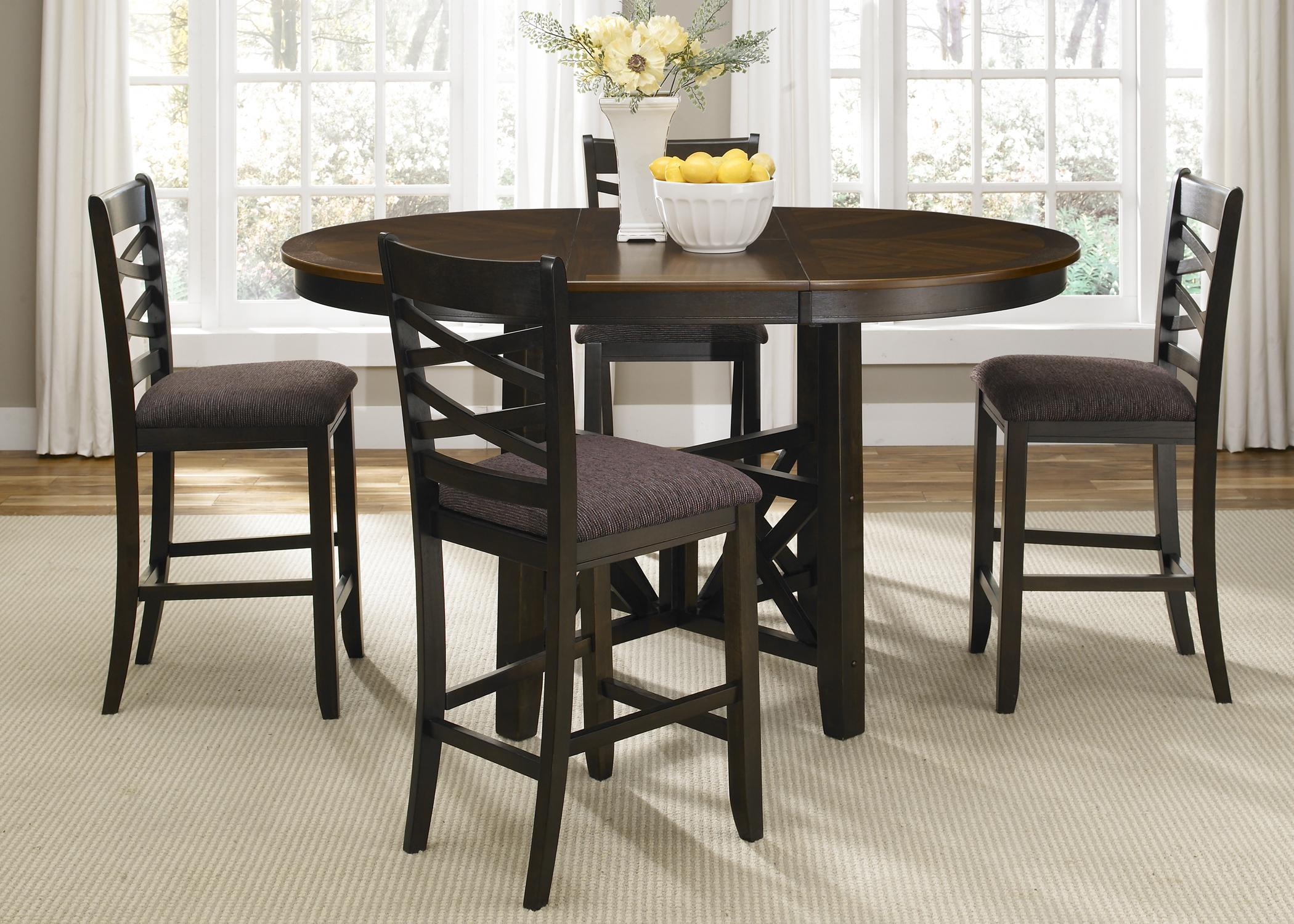 Liberty Furniture Bistro II Round To Oval Single Pedestal Dining Table With  18 Inch Butterfly Leaf   Wayside Furniture   Dining Room Table