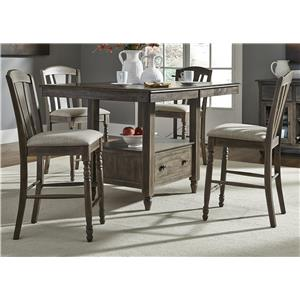 Liberty Furniture Candlewood 5 Piece Gathering Storage Table and Barstool Set