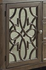Antique Mirror Glass Door with Decorative Grid Overlay
