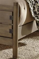 Post, rail, and metal footboard accents
