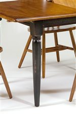 Spindle Table Legs with Two Tone Finish.