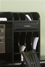 Vertical Storage Compartments on Desk Hutch