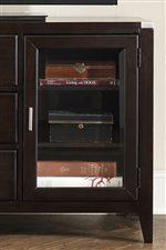 Adjustable Shelves Behind Glass Panel Door
