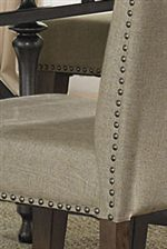 Upholstered Linen Seat Nail Head Detailing Design