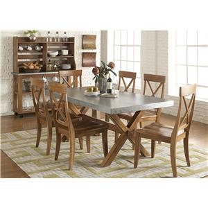 Liberty Furniture Keaton 6 Piece Trestle Table and X-Back Side Chair Set with Backless Dining Bench