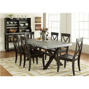 Liberty Furniture Keaton II Serving Table & Satted Hutch Set with Casters