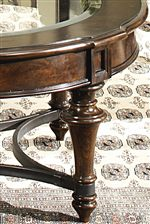 Liberty Furniture Kingston Plantation Round Cocktail Table with Beveled Glass Top and Metal Stretcher