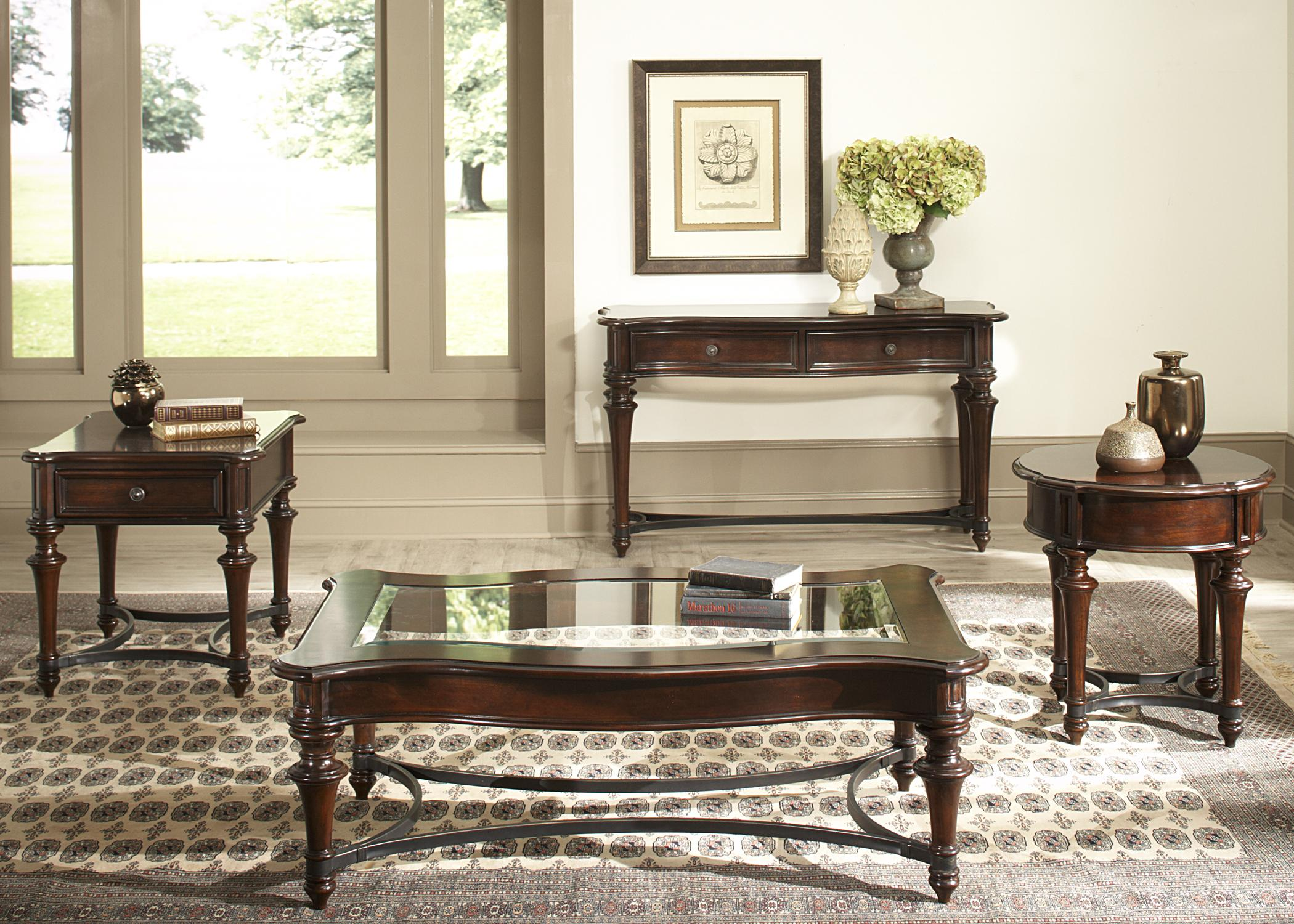 Kingston Plantation Sofa Table with Two Drawers and Metal