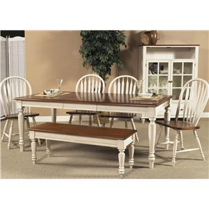 liberty furniture low country rectangular dining table with turned legs - Low Dining Room Table
