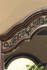 Scrolled Metal Accents on Mirror Frame