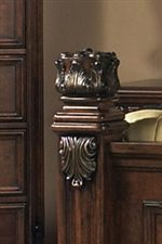 Footboard Post with Applied Acanthus Leaf Carving and Ornamental Capital