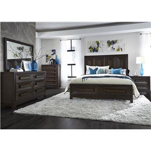 Liberty Furniture Midtown Bedroom 6 Drawer Dresser and Wide Landscape Mirror Combo