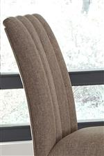Counter Height Chair Back Upholstered in Brown Tweed