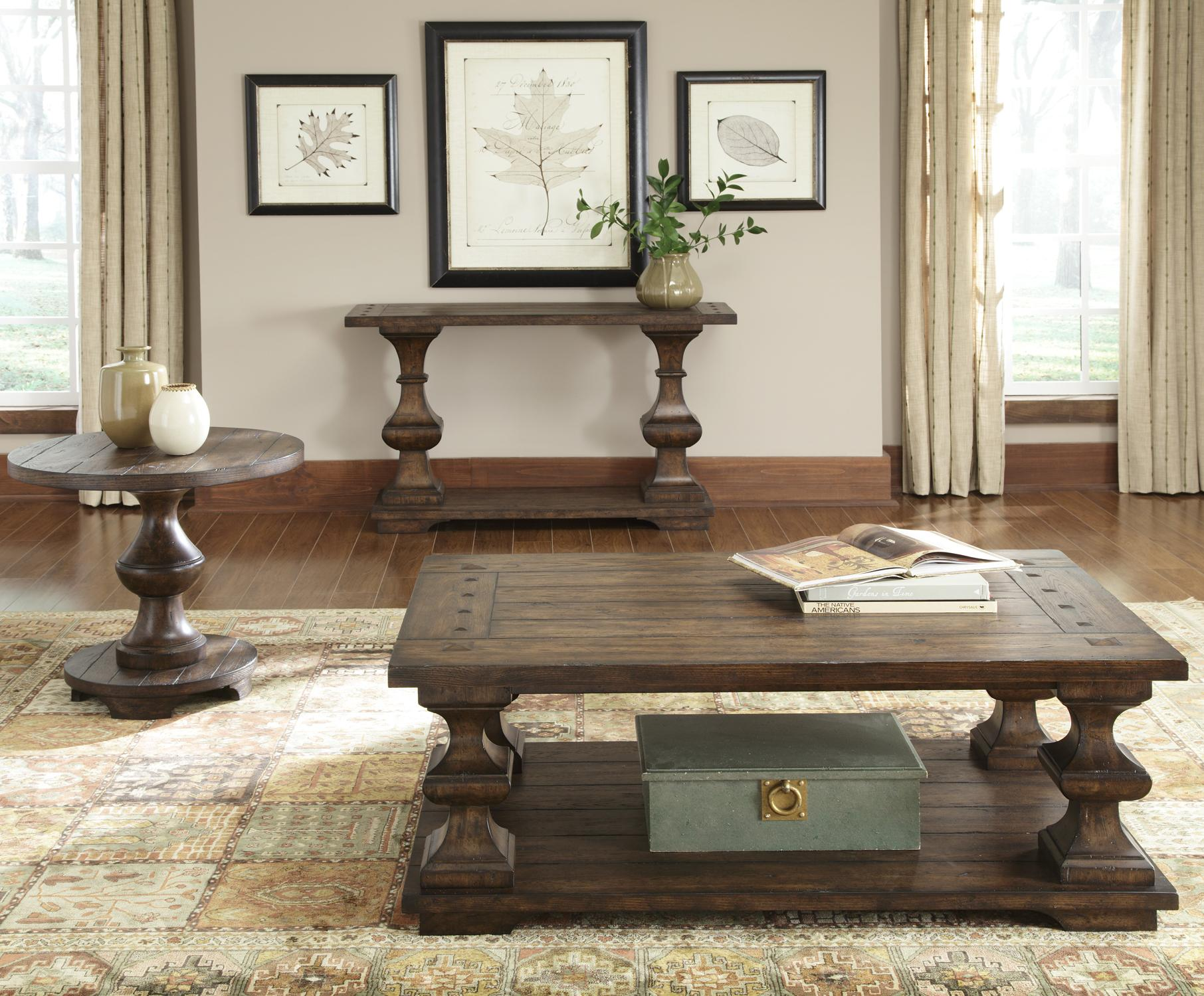 Liberty furniture sedona rectangular sofa table with bottom shelf liberty furniture sedona rectangular sofa table with bottom shelf and turned legs wayside furniture sofa table geotapseo Gallery