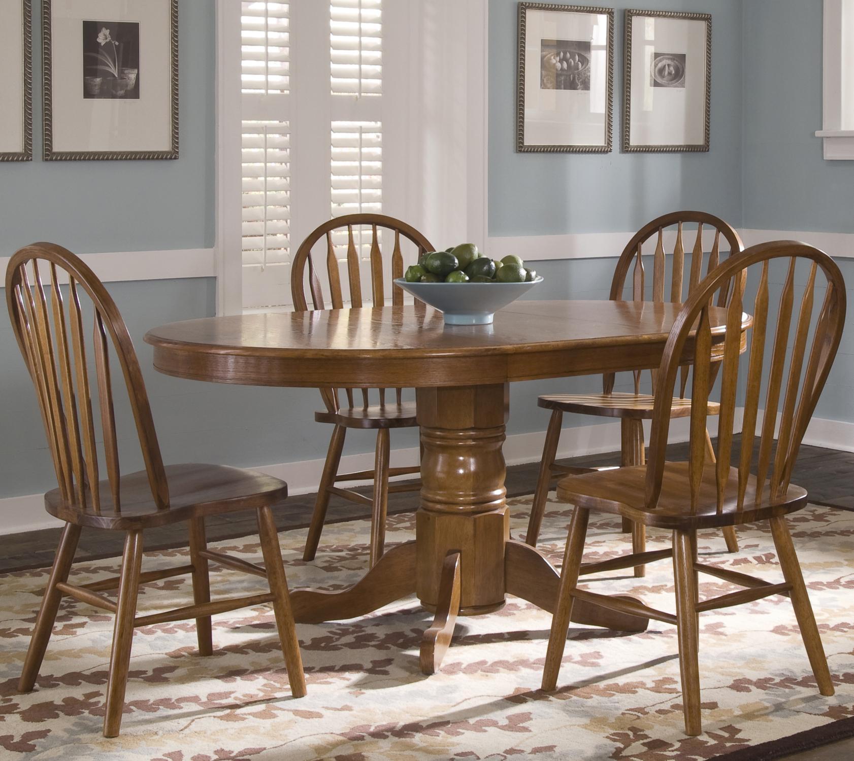 Liberty Furniture Nostalgia Oval Pedestal Dinner Table w/ 4 Windsor ...