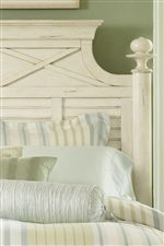 Round Finials, X Motif and White Shutter Cottage Feeling on Headboard.