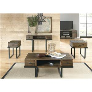 Liberty Furniture Paxton Contemporary Cocktail Table with Floating Design and Metal Base