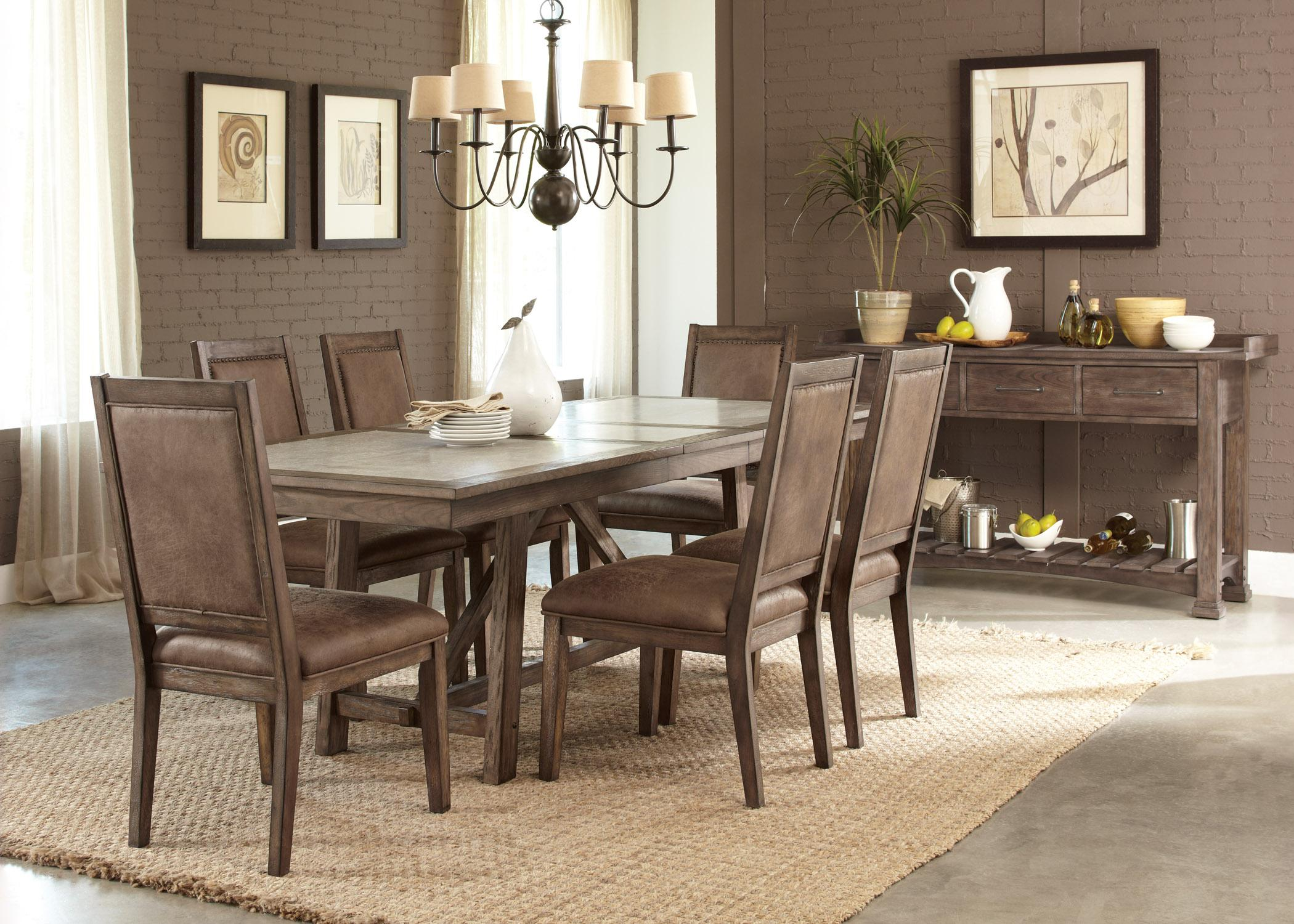 Liberty Furniture Stone Brook Casual 7 Piece Trestle Table Set