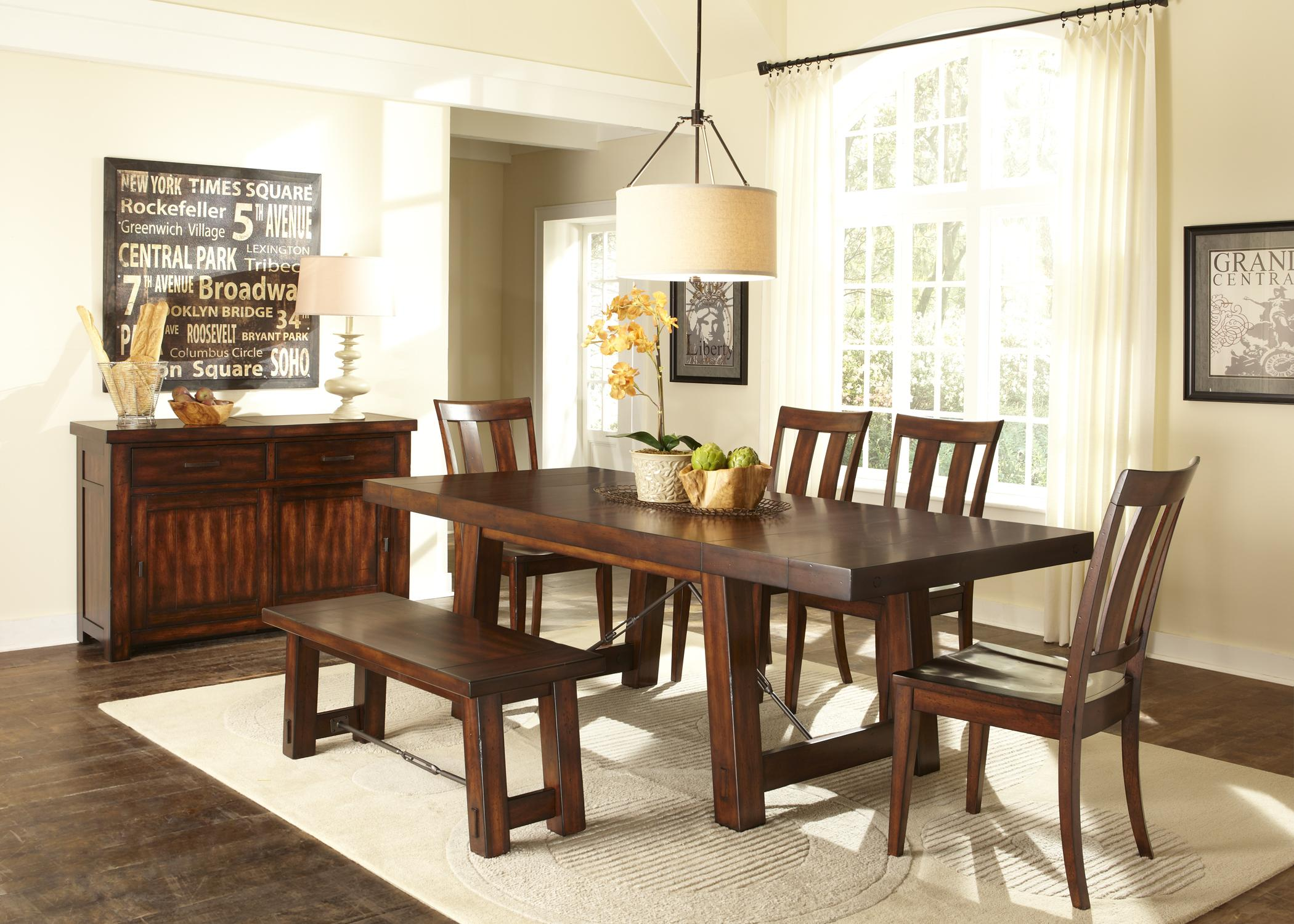 Liberty Furniture Tahoe Trestle Table With Iron Support Stretcher And  Turnbuckle Details   Wayside Furniture   Dining Room Table
