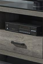 Center media compartment and bottom drawer